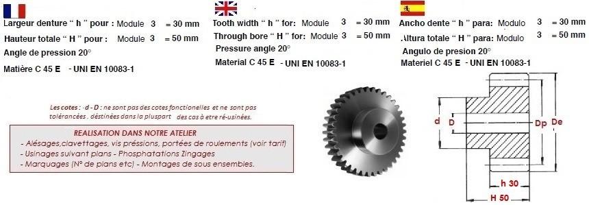 engrenage acier a denture droite module 3. Black Bedroom Furniture Sets. Home Design Ideas