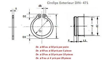 CIRCLIPS EXTERIEUR 16 mm DIN 471-40 CIRCLIPS