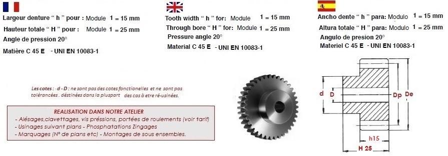 module 3 matériau c45 etzr-m3-36 Mold 3 Engrenage nombre de dents 36