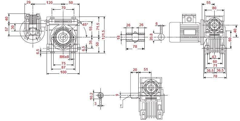 motoreducteur combine - roue et vis sans fin